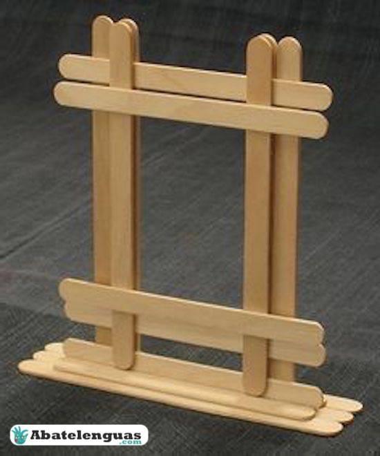 portaretratos con palitos de madera