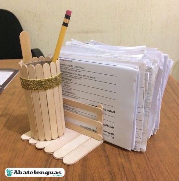 portanotas palitos madera